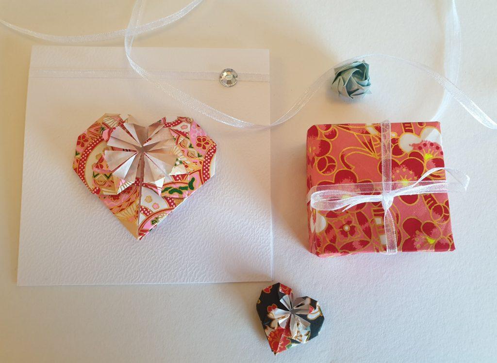 origami valentine's day geometric heart card and washi